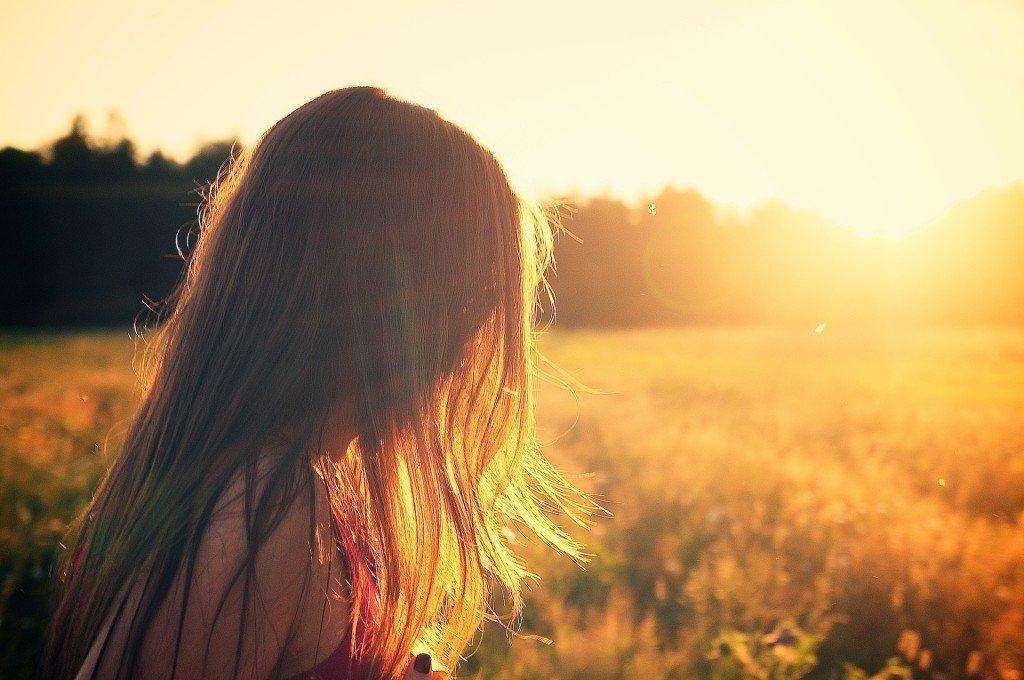 woman's hair in summer sun